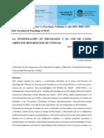 Anuario de Psicología. La Investigación Psicológica y El Uso de Casos
