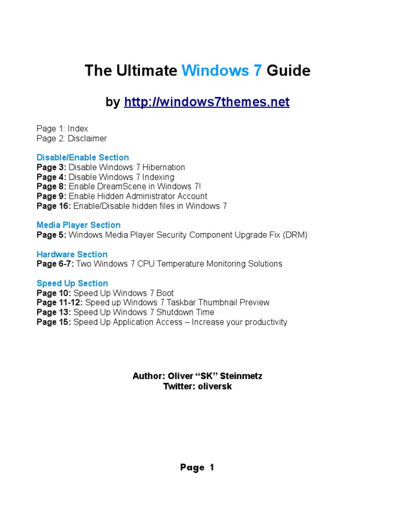 Win 7 Guide | Windows 7 | Microsoft Windows