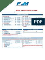 Tarifs Licences 2018