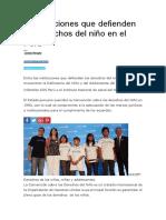6 Instituciones Que Defienden Los Derechos Del Niño en El Perú