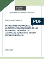 Definiciones Operacionales de los Programas Estrategicos Articulado Nutricional y Salud Materno Neonatal