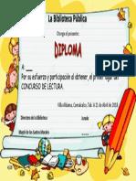 Diploma Bibliteca Concurso de Lectura