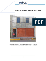 Memoria Descriptiva de Arquitectura