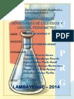 DETERMINACION DE DENSIDADES DE LIQUIDOS Y   USO DEL PICNOMETRO.
