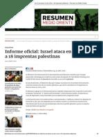 Informe Oficial_ Israel Ataca en Dos Años a 18 Imprentas Palestinas – Resumen de Medio Oriente