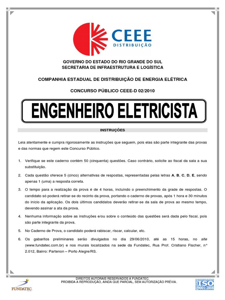 6ebf7775bc956 Todos provas de engenharia elétrica Fundatec
