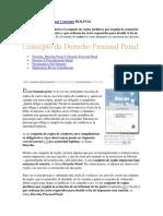 Derecho Procesal Penal Concepto BOLIVIA