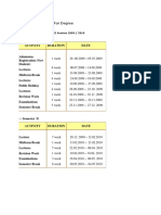 Academic Calendar for Degree