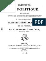 Constant, Principes de Politique (1814)