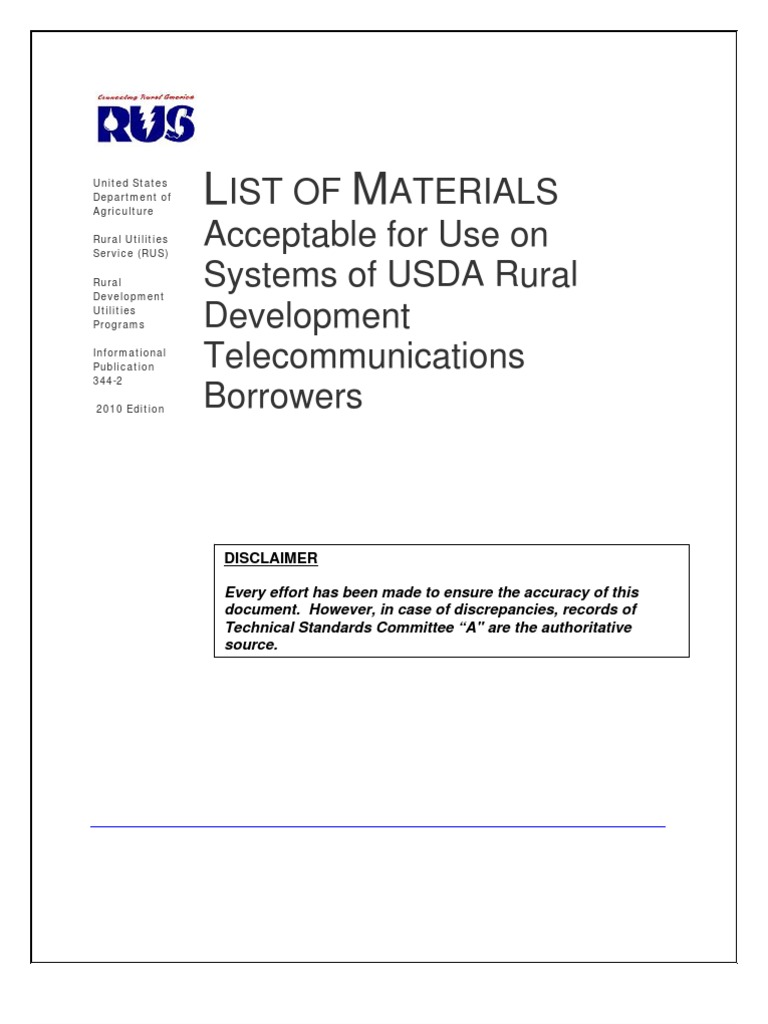 Usda Rus List Of Materials For Use By Rural Development Tehnike Nauke Integrated Electronics Analog And Digital Circuits Telecom Borrowers 08 31 2010 Specification Technical Standard Email