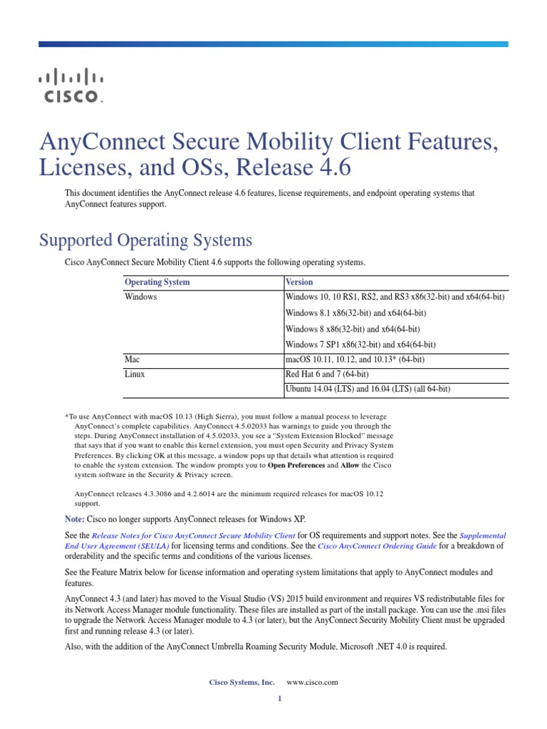 AnyConnect Secure Mobility Client Features, Licenses, And