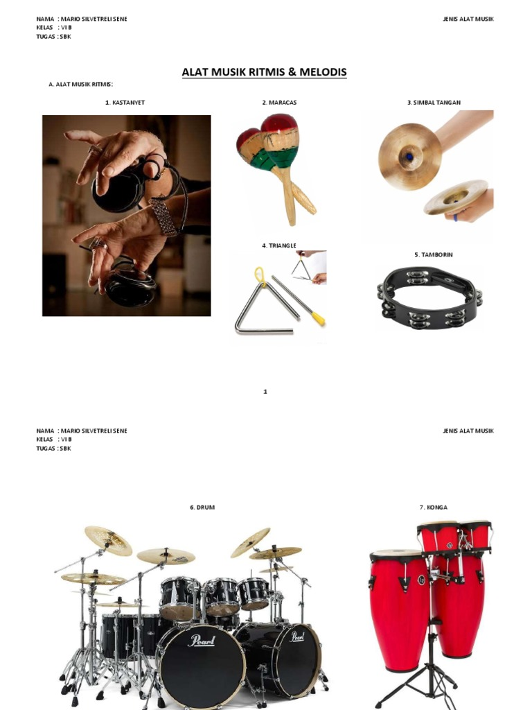 Alat Musik Tamborin Gambar Alat Musik