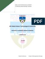 Master of Planning(Pl) Curriculum
