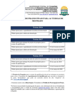 Calendário de Prazos Finais - Turma 2016 à 2018