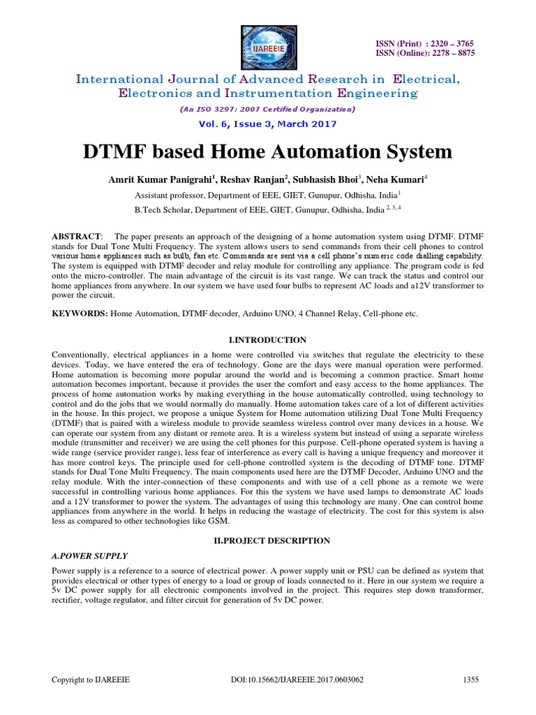 Synopsis Dtmf Load Control Arduino International Standard Serial Based Home Automation Project With Circuit Diagram Number