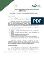 1 - Projeto Básico - Introdução a Gestão de Custos Em Instituições de Saúde