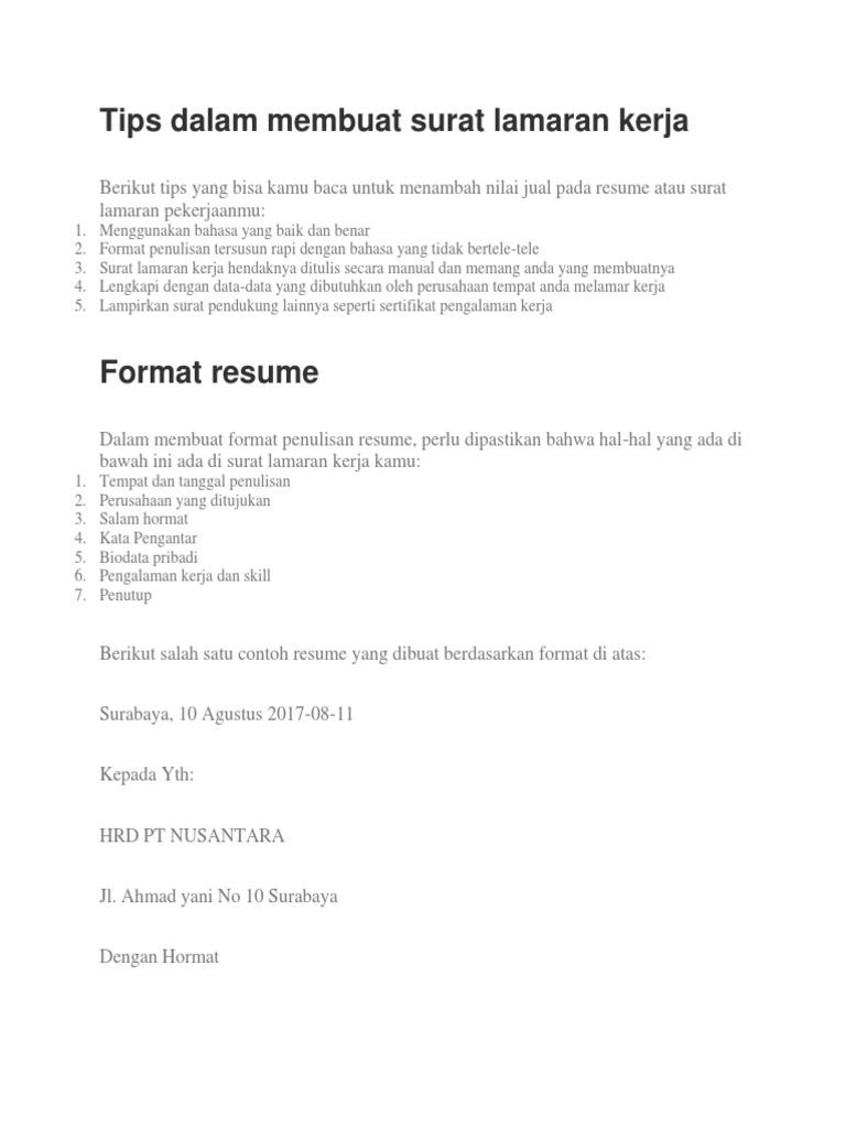 Tips Dalam Membuat Surat Lamaran Kerja