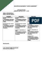 Lista de Útiles de Bachillerato Lengua y Literatura