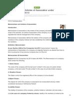 Memorandum Articles of Association Under Companies Act2013