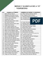 Lista de Padrino y Madrinas Del 6