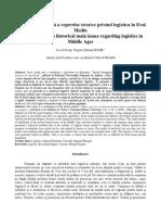 Scurtă Retrospectivă a Reperelor Istorice Privind Logistica În Evul Mediu