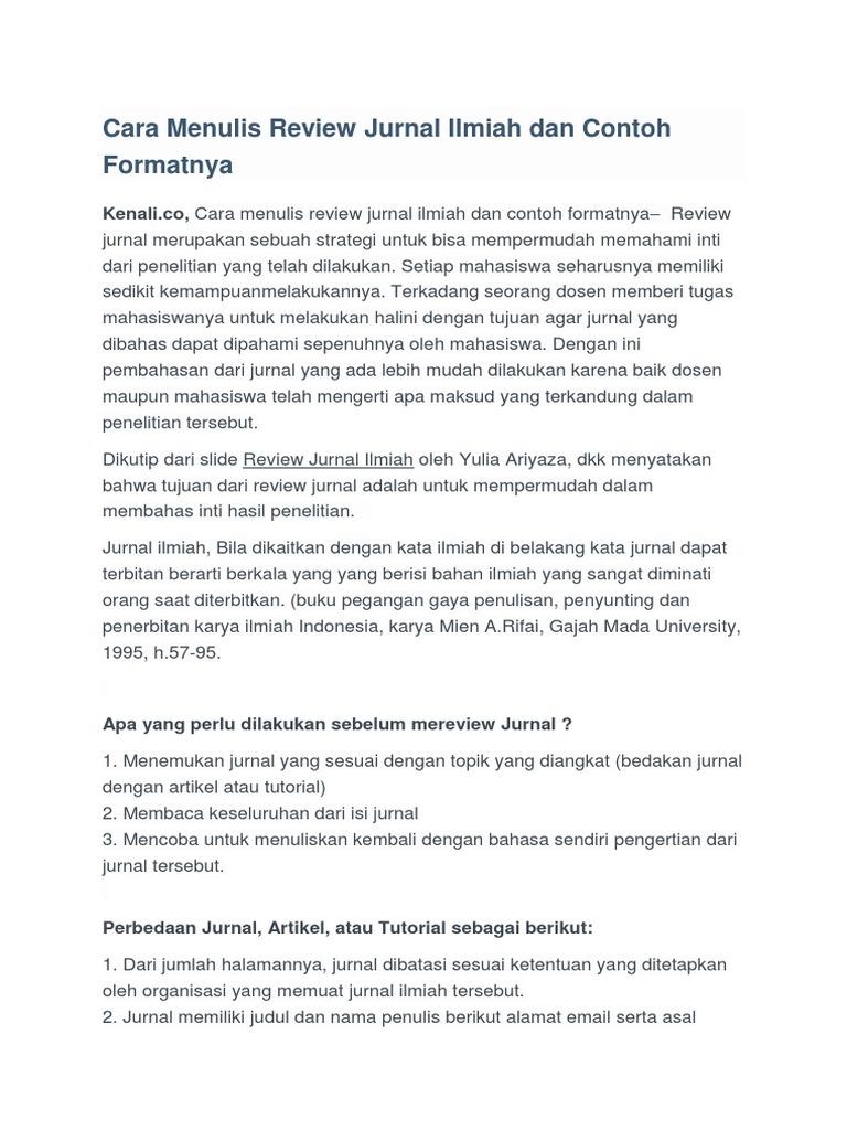 Cara Menulis Review Jurnal Ilmiah Dan Contoh Formatnya