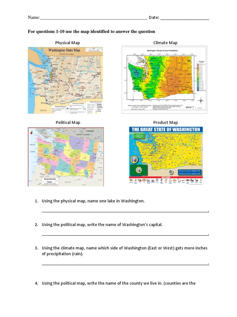 types of maps worksheet