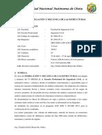 Silabo de Modelacion y Mecánica de Las Estructuras - 2018-i