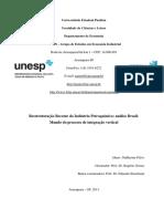 Reestruturação Recente Da Indústria Petroquímica - Análise Brasilmundo Do Processo de Integração Vertical