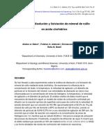 Cinética de Disolución y Lixiviación de Mineral de Rutilo