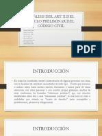 Análisis Del Art x Del Título Preliminar Del Código Civil