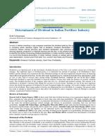 Determinants of Dividend in Indian Fertilizer Industry
