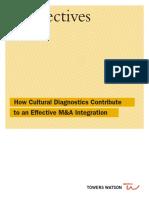 How Cultural Diagnostics Contribute to an Effective M&a Integration