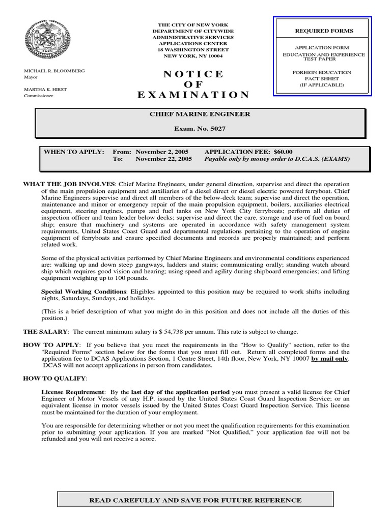Chief Marine Eng | Academic Degree | Test (Assessment)