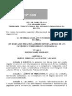 7. Ley Nº 699 Básica de Relacionamiento Internacionales de Las Entidades Territoriales Autónomas