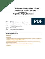 Birgin-Isod. La formación docente como asunto político pedagógico. FLACSO, 2009