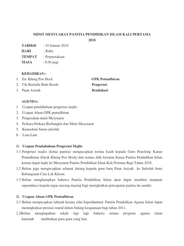 Minit Mesyuarat Panitia Pendidikan Islam Kali Pertama