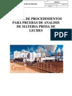 Manual de Procedimientos Para Pruebas de Analisis de Materia Prima de Leches
