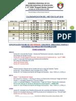 Calendarización 2018 IE