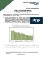 Indicadores de Ocupación y Empleo. Cifras Oportunas Durante Marzo de 2018