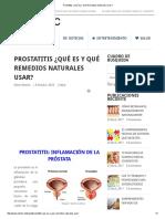 Prostatitis ¿Qué Es y Qué Remedios Naturales Usar