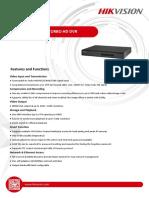 Especificaciones técnicas DS-7000HGHI-F1 SERIES TURBO HD DVR