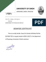University of Sindh Bonafide