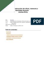 Brito A. 2007 La Construccion Del Oficio Memoria e Identidad Docente