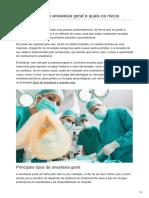 Como Funciona a Anestesia Geral e Quais Os Riscos