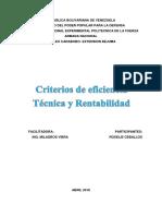 Criterios de Eficiencia Tecnica