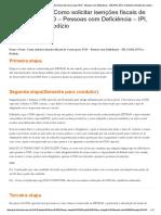 Passo a Passo_ Como Solicitar Isenções Fiscais de Carros Para PCD - Pessoas Com Deficiência - IPI, ICMS, IPVA e Rodizio _ Mundo Do Automóvel Para PCD
