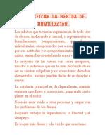 IDENTIFICAR LA HERIDA DE LA HUMILLACIÓN EJERCICIO N° 2