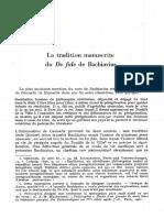 Bouhot La Tradition Manuscrite Du de Fide de Bachiarius (1979)
