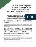 Nacrt Prijedloga Zakona o otpisu dugova fizičkim osobama
